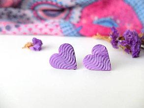 Náušnice - Náušnice srdce ružovo fialové vlnky - 8015427_