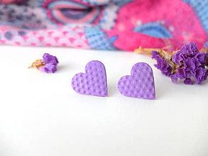 Náušnice - Náušnice srdce ružovo fialové bodky - 8015456_