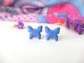 Náušnice - Náušnice Motýle modré - 8015536_