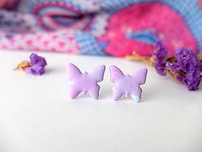Náušnice - Náušnice Motýle ružovkasté - 8015573_