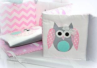 Textil - Mantinel do postieľky 240x25cm(ružové a mentolovésovy) - 8015023_