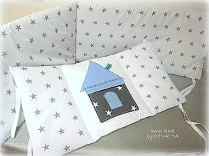 Textil - Mantinel 240x25cm Čarovná hviezdička v modrom s vreckom domčekom - 8015195_