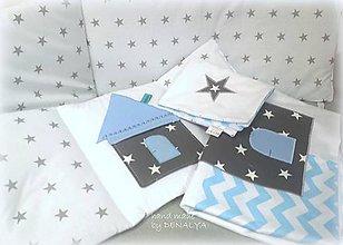 Textil - Mantinel +obliečky Čarovná hviezdička v modrom - 8015202_