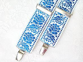 Doplnky - Svadobné folklórne traky (kráľovsky modré/biele) - 8017667_