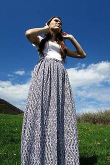 Sukne - Fialová vzorovaná maxi sukňa - 8017620_