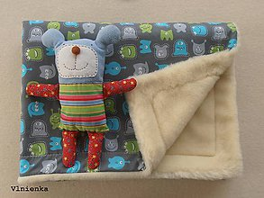 Úžitkový textil - Ovčie rúno deka 100% MERINO TOP s kašmírom Príšerky tyrkysové - 8019086_