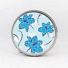 Krabičky - Plechová krabička okrúhla mozaika modrý kvet - 8019142_