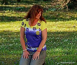Tričká - Dámske tričko batikované a maľované VOŇAVO - 8015692_