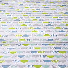 Textil - tyrkysové vlnky; 100 % bavlna Francúzsko, šírka 160 cm, cena za 0,5 m - 8017253_