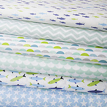Textil - mentolové vlnky; 100 % bavlna Francúzsko, šírka 160 cm, cena za 0,5 m - 8017313_