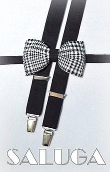 Doplnky - Pánsky pepito motýlik - čierno biely - kockovaný - 8017735_