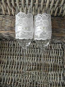 Nádoby - Nemotúzové svadobné poháre Biele perlové - 8017335_