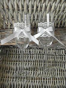 Nádoby - Nemotúzové svadobné poháre Strieborné - 8017543_