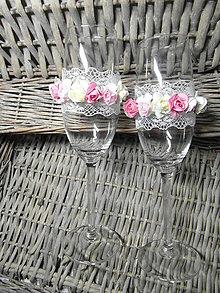 Nádoby - Nemotúzové svadobné poháre Kvetinkové - 8018147_