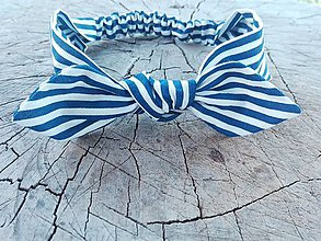 Ozdoby do vlasov - Čelenka - modrá pásiková - 8016981_