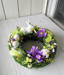 Dekorácie - jarný veniec so zajkom - 8016175_