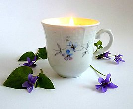 Svietidlá a sviečky - teacup candle VIOLA - 8017818_