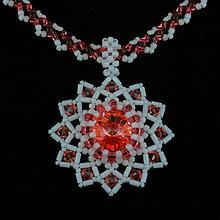 Náhrdelníky - Ružovo-broskyňový náhrdelník so SW príveskom - 8017459_
