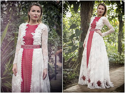 8fe0d2456fe Šaty s dlhými rukávmi a červenou krajkou   JaroslavaWurllKocanova ...