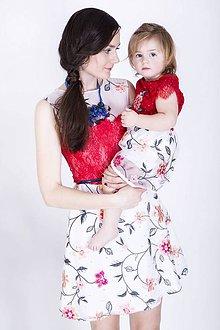 Šaty - Mini šaty s červenou krajkou - 8015519_