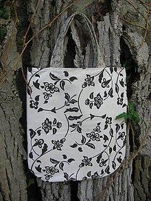 Nákupné tašky - taška 2v1 - čierno-biela - 8018719_