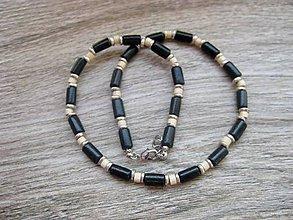 Šperky - Pánsky náhrdelník okolo krku drevený (čierny drevený č.524) - 8015875_