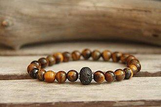 Šperky - Pánsky náramok z minerálu láva a tigrie oko - 8016418_