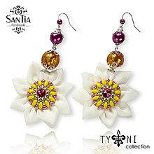 Náušnice - Náušnice obojstranné s visiacimi kvetmi (Swarovski bielo-ružové) - 8016567_