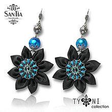 Náušnice - Náušnice obojstranné s visiacimi kvetmi (Swarovski modro-sivé) - 8016581_
