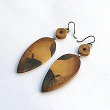 Náušnice - Špaltované pagaštanové slzičky naruby - 8018167_