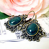 - Vintage Green Agate with Ornaments Earrings / Náušnice so ze - 8022962_