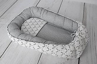 Textil - Hniezdo pre dieťatko sivo-biele s jeleňmi - 8019429_