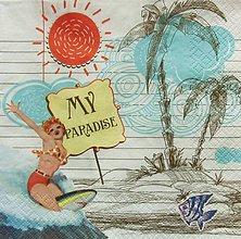 Papier - S1004 - Servítky - pláž, dovolenka, slnko, plavky, more, palma - 8019427_