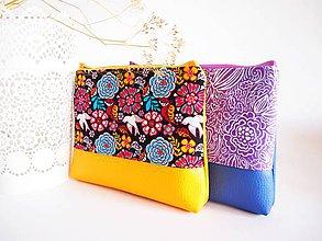 Taštičky - Kozmetická taška veľká - pestrofarebná so žltou - 8019686_