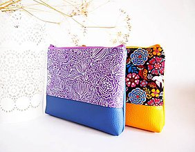 Taštičky - Kozmetická taška veľká - fialová s modrou - 8021863_