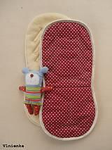 Textil - Univerzálna podložka 3 v 1 do kočíka/ autosedačky/ vaničky 100% MERINO Top celoročná obojstranná BODKA bordová - 8023467_
