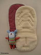 Textil - Univerzálna podložka 3 v 1 do kočíka/ autosedačky/ vaničky 100% MERINO Top celoročná obojstranná BODKA bordová - 8023478_