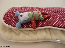 Textil - Univerzálna podložka 3 v 1 do kočíka/ autosedačky/ vaničky 100% MERINO Top celoročná obojstranná BODKA bordová - 8023493_