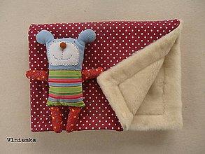 Úžitkový textil - Ovčie rúno deka 100% MERINO TOP s kašmírom BODKA bordová - 8023354_