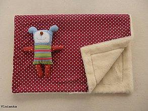 Úžitkový textil - Ovčie rúno deka 100% MERINO 100 x 140 cm BODKA bordová - 8023433_