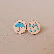 Náušnice - farebný dážď s dáždnikom - napichovačky - 8022197_