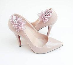 Obuv - Staroružové vintage kvetinkové klipy na topánky - 8020795_