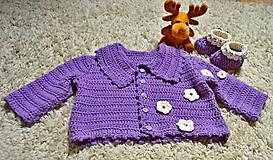 Detské súpravy - háčkovaná súpravička pre bábätko do pol roka - 8020475_