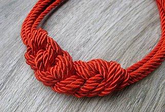 Náhrdelníky - Uzlový hrubý zo štyroch šnúr (červený hrubý č. 1970) - 8021820_