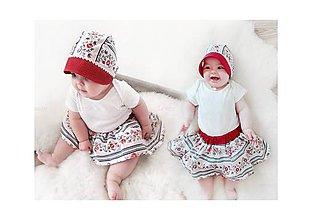 Detské súpravy - Baby čepiec + sukienka Folk - 8019574_