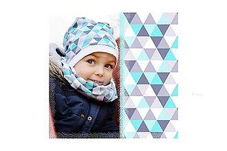 Detské čiapky - Jarná čiapka TRIANGLE MINT - 8023243_