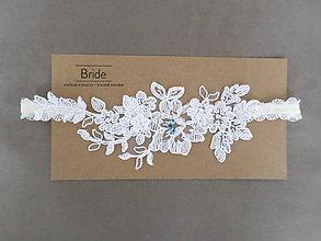 Bielizeň/Plavky - Ivory svadobný podväzok Helene - s modrými kamínky - 8022533_