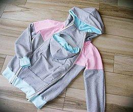 Tehotenské oblečenie - Mikina na nosenie deti - ružová+mentol - 8022310_