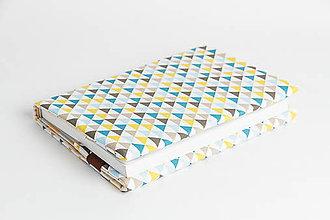 Papiernictvo - Obal na knihu otvárací - triangles modrý - 8023600_