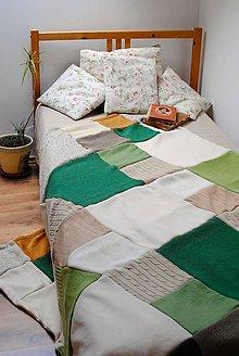 Úžitkový textil - Zeleno - béžová deka - 8022914_